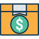 box, box with dollar, courier box, delivery box, package, packed box, parcel icon