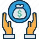 dollar, dollar in hand, give money, hand gesture, income, payment, safe investment icon