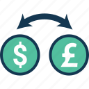 currency exchange, dollar exchange with pound, foreign exchange, money conversion, money exchange, pound exchange dollar exchange icon