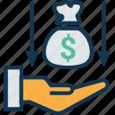 dollar, dollar value, loss, lost, market value, money down, paper money icon
