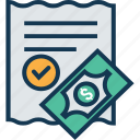 bill, document, invoice, receipt, shopping bill, ticket, voucher icon