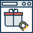 gift, gift box, gift box on screen, online gift, present, present box icon