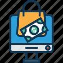 online shopping, paper bag, shopper bag, shopping bag, supermarket bag, tote bag, tote bag on lcd icon