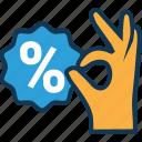 discount coupon, discount receipt, discount voucher, discount voucher in hand, percentage, sale voucher, shopping voucher icon