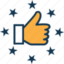 approved, hand gesture, like, ok, social like, thumbs up, well done icon