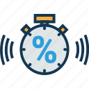 chronometer, discount, limit time, percentage, stopwatch, time counter, timepiece icon