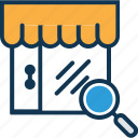 find shop, magnifying, marketplace, search glass, search shop, shop, shop with magnifier icon