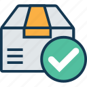 +, approved, box, package, package box tick, packed box, parcel, successful shipped icon
