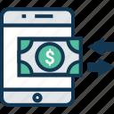 dollar valuation, finance, mobile transfer, money exchange, money transfer, online money transfer icon