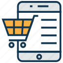 mobile app, mobile marketing, mobile shopping, mobile with cart, seo, shopping app, trolley icon
