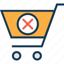 cancel, cancel cart, cancel order, cancel shopping, cross, shopping, shopping cart icon