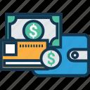 billfold wallet, card holder, coin wallet, money in wallet, pocket money, purse, wallet icon
