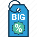 big deal, big deal tags, discount badge, discount offer, discount tag, percentage, percentage tag icon