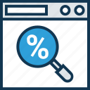 discount offer, find discount, low percentage, magnifier, online percentage, percentage, percentage ratio icon