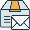 box, box with envelope, delivery box, package, packed box, parcel, shipping box icon