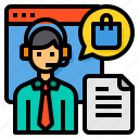 call, customer, headphone, shopping, center, service, bag icon
