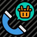 basket, call, customer, center, service, help, telephone icon
