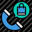 call, customer, center, shopping, service, telephone, bag icon