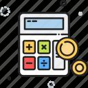 calculator, cash, money, shopping