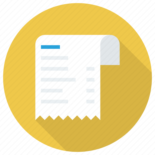 bill, document, invoice, payment, receipt, receipticon, tillreceipt icon