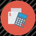 accounting, calculate, calculation, calculator, math, receipt, shopping icon