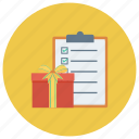 check, checklist, clipboard, document, gift, menu, present icon