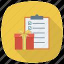 check, checklist, clipboard, document, gift, menu, present
