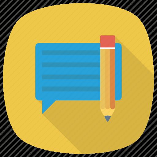 chat, comment, communication, edit, message, pencil, write icon