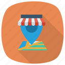 gps, location, map, navigation, pin, shop, shopping icon