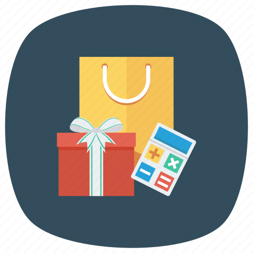 calculator, ecommerce, gift, present, shop, shopping, shoppingbag icon