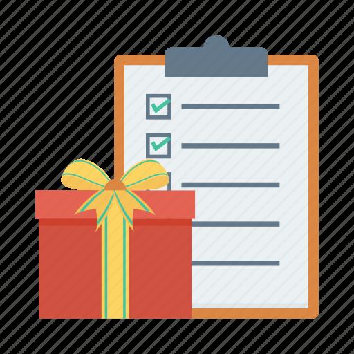 check, checklist, clipboard, document, gift, menu, present icon