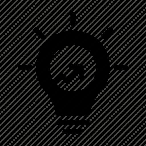 bulb, graph, growth, increase, light icon