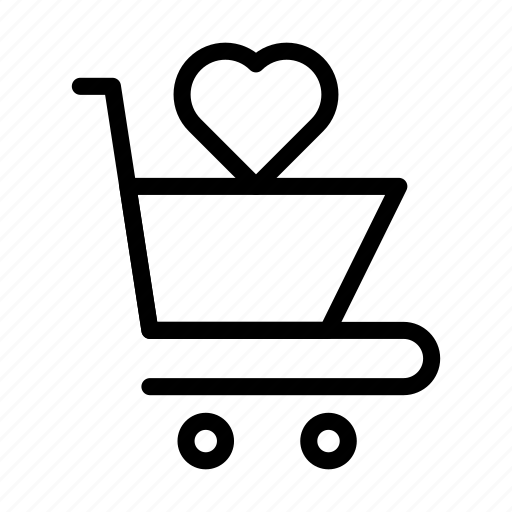 cart, favorite, heart, shopping, trolley icon