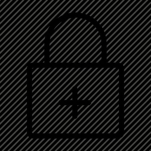 add, lock, plus, private, secure icon
