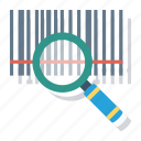 bar, barcode, chart, code, find, magnifier, search icon