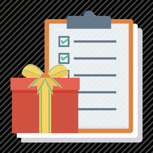 Gift, checklist, clipboard, menu, document, check, present icon