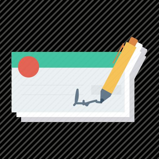 banking, cheque, chequebook, finance, money, payment, voucher icon