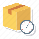 clock, delivery, parcel, shipping, time, timer, watch icon