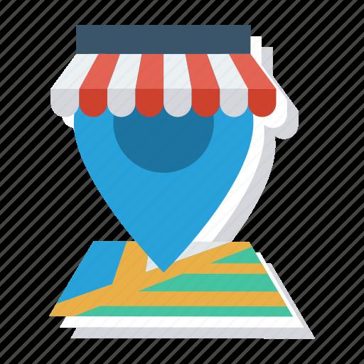 gps, location, map, navigation, pin, shop, shopping icon