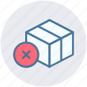 box, carton, container, pack, packaging, reject icon