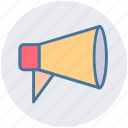 advertising, announcement, attention, loudspeaker, megaphone, round icon
