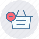 basket, clothes basket, ecommerce, minus, remove, shopping, shopping basket icon