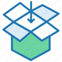 add product, drop box, inbox, logistics, package, parcel, shopping icon