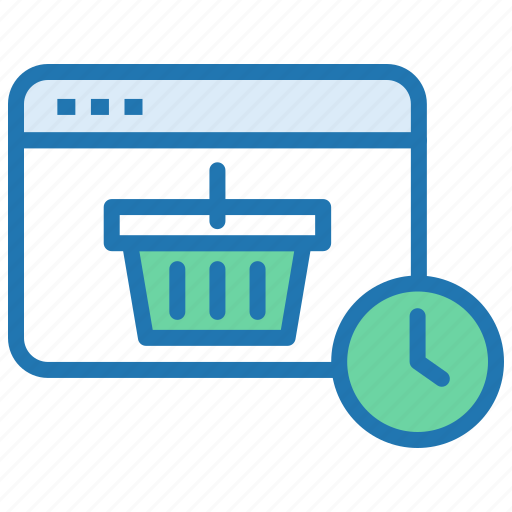 delivery time, ecommerce, on time delivery, order, processing, shopping basket icon