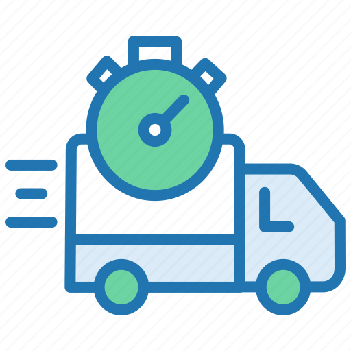 delivery time, delivery van, fast delivery, processing, timely delivery, timer icon