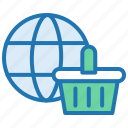 eommerce, global market, shopping basket, trade, website icon
