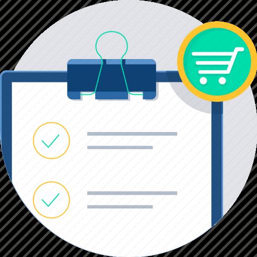 buy, cart, ecommerce, itemlist, list, shopping icon