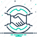 agreement, collaboration, copartnership, deal, handshake, introduction, partnership icon