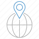 globe, gps, location, pin, shopping icon