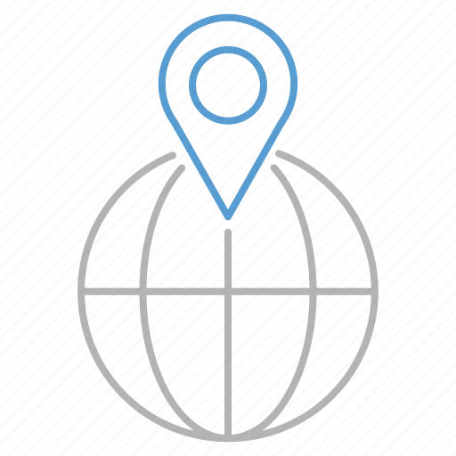 globe, gps, location, pin, shopping icon